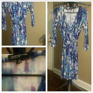 Jones New York Knit Long Sleeve Wrap Dress